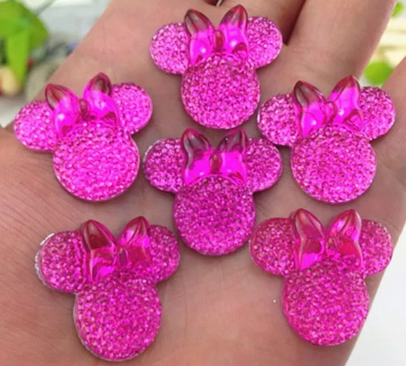 6pcs Pink 28mm Flat Back Mouse Head & Bow Resin Rhinestones Gems - DIY Craft Embellishments by MajorCrafts