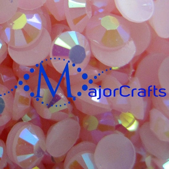 Light Pink AB Flat Back Round Resin Rhinestones Embellishment Gems C48