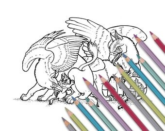 """Printable coloring page: """"Griffin Family"""" Instant download - PDF"""