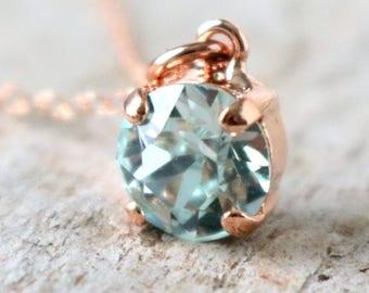 Light Azore   Swarovski Necklace   Light Azore Necklace   Swarovski Crystal   Rose Gold Necklace   Beach Wedding   Azore Wedding   Icy Blue