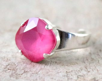 Pink Peony | Swarovski Ring | Swarovski Crystal | Cushion Cut | Square Ring | Beach Jewelry | Gift For Her | Beach Wedding | Pink Wedding