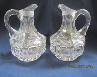 Two  Octagon Panel Thumbprint Crystal Glass Cruets No Stoppers Star Base