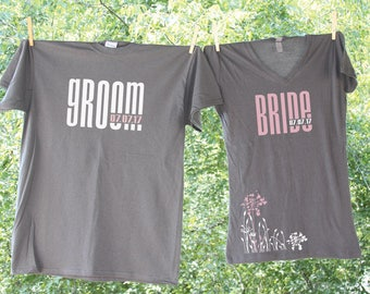 Classic Bride & Groom Shirts with Matching Date and Flowers / Two shirts
