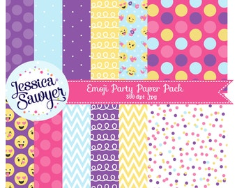 INSTANT DOWNLOAD, emoji party digital papers for planner stickers, products, and crafts