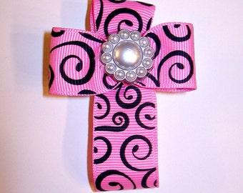Cross Hair Bow Clip - Ribbon - Pink