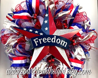 Patriotic Wreath - Summer Wreath - Mesh Wreath - Memorial Day - Independence Day - Red White and Blue - Uncle Sam - America