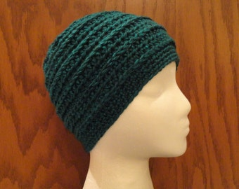 Crochet Hat and Fingerless Gloves Set Teal Green Acrylic Texting Gloves