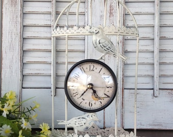 Birdcage Table Top or Wall Clock / White Metal Clock