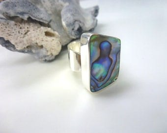 Abalone Silver Ring Geometric Abalone Blue Green Sterling Silver Adjustable Statement Ring