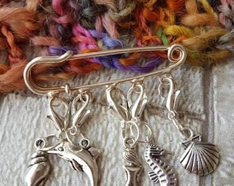 Stitch markers, sea themed stitch markers, mermaid themed stitch markers, progress keepers, knitting stitch markers, crochet stitch markers.
