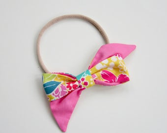 Yellow Spring Floral Mae Bow Headband or Clip