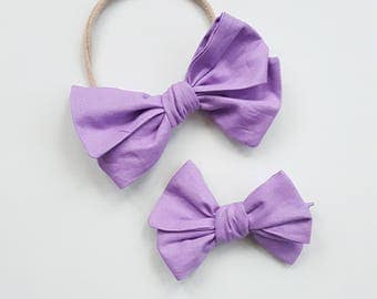 Lavender Tied Emmie Bow Headband or Clip