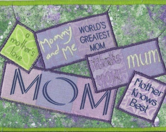 World's Greatest Mom FABRIC POSTCARD, Mother's Day Quilted Postcard, Say thanks to your Mother, Handmade Card