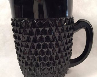 1977 Tiara Cameo Black 65 oz. Tea or Juice Beverage Pitcher #10309 by Indiana Glass an Elegant Black Glass with a Diamond Point Pattern - IG