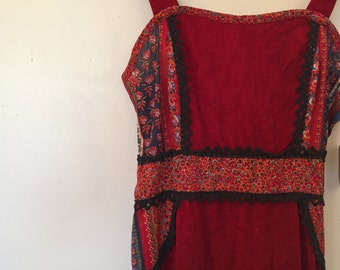 Vintage Red Dress / XSmall/Small / Sun Dress