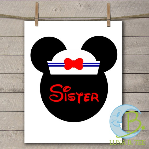 INSTANT DOWNLOAD Disney Family Vacation Cruise Sailor Hat sister Shirts Printable DIY Iron On to Tee T-Shirt Transfer - Digital File