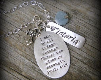 """SALE Scripture necklace """"I can do all things.."""", Philippians 4:13 Personalized Inspirational Cross Christian Sterling Encouragement CQ1"""