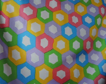 Vintage 1970s acetate scarfcolorful geometric 27 x 27 inches