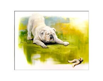 Dog Art - Matted Print of Original Custom Oil Painting - Dog Art, Bulldog, Puppy, Dogs, Black Lab, Puppy, Animal Lovers, Wall Art