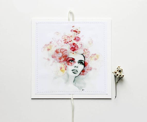 "Sewn Postcards, mini art-prints, hanging postcards - ""She Dreamt of Flowers"""