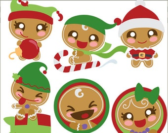 Christmas Clipart Gingerbread Kids -Personal and Limited Commercial Use- Kawaii Christmas Gingerbread Clip Art