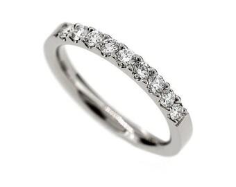 SIZE 3.5, Diamond half eternity wedding band, 18k white gold ring, engagement ring, vintage style, diamond wedding, unique, anniversary band