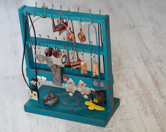 Mother's Day Home Gift, Jewellery Display, Jewelry Storage Holder, Jewellery Organizer, Necklace Holder, Turquoise Home Gift, Earring Holder