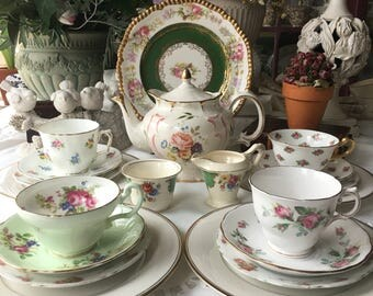 Stunning English Mismatched Tea Set 20 pieces  Complete Tea Set for 4 Bridesmaids Tea Party Wedding Gift Mother Daughter  Tea Party