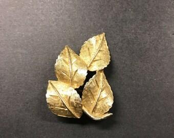 Vintage BSK Brooch , Signed Brooch, Gold Tone Brooch, Leaf Pin, Designer