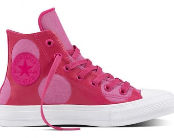 Custom Pink Converse Chuck Taylor II High Top Custom Polka Dot Kicks w/ Swarovski Crystal Rhinestone Jewels Bling All Star Trainers Shoes