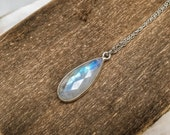 Moonstone necklace, moon stone necklace jewelry, simple sterling silver