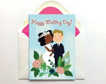 Cute Wedding Card, Interracial Couple, Mixed Race, Hand Drawn, Engagement Card, Mix Couple, Black Bride, Colour Blind Card, Ethnic Couple,