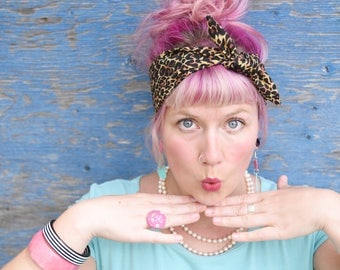 Rockabilly Headband - leopard print. Animal print. Vintage style headscarf. pin up head scarf. Head band. Retro hairband. pin up headband.