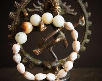 21 Bead Anahata Mala, Heart Chakra, Amazonite, Pure Silver Heart  charm and beads, and Vaijayanti Seed, Yoga Bracelet
