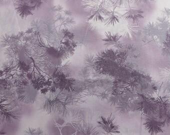 Smoky purple with pine needle print, Enchanted Pines Amethyst, purple fabric