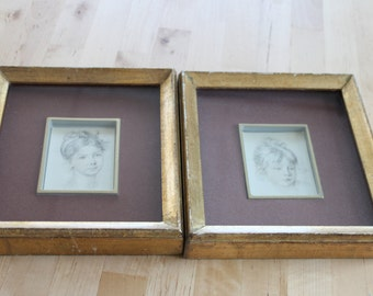 Set of 2 small square Framed Vintage Sketch Portraits of girls in thick gold frames, pair of chippy shabby chic matching gold frames,velvet