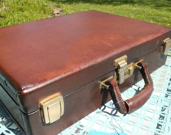 Vintage 1960's Genuine BELTING LEATHER briefcase Dark Tan Brown Hard Leather Briefcase, Made in USA, Gorgeous brown aged leather