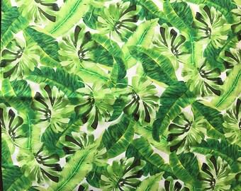 Tropical Fabric Hawaiian Fabric Green Tropical Leaves Fabric Fabric By The Yard