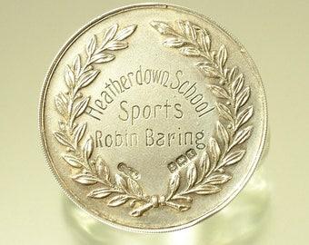 Antique Art Deco Mapping & Webb, Heatherdown, sterling silver sports medal, Birmingham hallmark 1922 - Ascot - Robin Baring - 100 yards