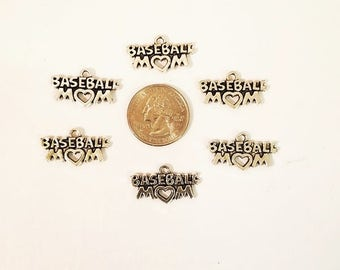 Baseball MOM Charm, Sale 5 pcs, BEST PRICE Baseball Charm, Sports Mom. Baseball, Antique Silver Charm, Sports Charm, Sports Jewelry Findng,