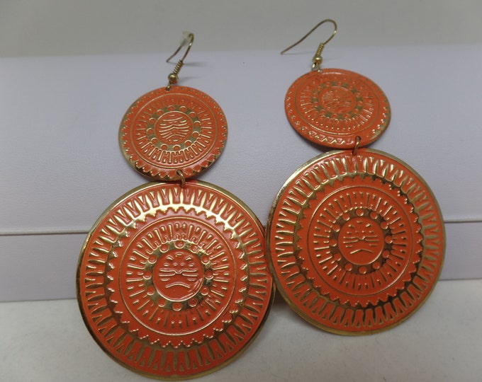 Fabulous Vintage Orange Enamel Statement Earrings