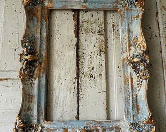 Distressed ornate picture frame wall hanging shabby cottage chic antique wood gesso detailed large home decor anita spero design