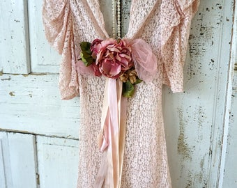Antique faded pink lace dress collectible decor shabby cottage chic tattered long garment wall hanging adorned flowers anita spero design