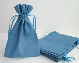 """Cotton Muslin Bags - Blue 