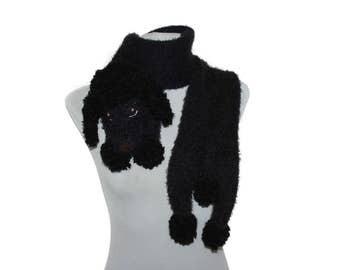 Black poodle portrait / Knitted black poodle scarf / Fuzzy Soft Scarf / dog scarf / knit dog scarf / animal scarf / Pet portrait