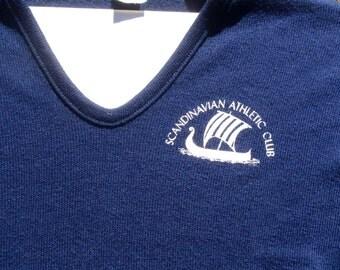 Vintage 1970s Scandinavian Athletic Club Navy Blue V-Neck Sweater