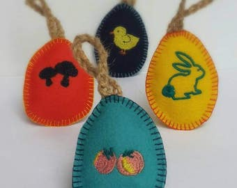 Easter decorations. Easter tree ornaments. Easter egg hanging decoration. Cute Felt egg ornament. Set of 4. Handmade Easter gift. Australia