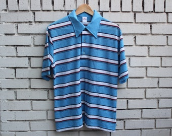 Vintage JANTZEN Polo Shirt Striped made in usa collared short sleeve soft 1970's 1960's dinner