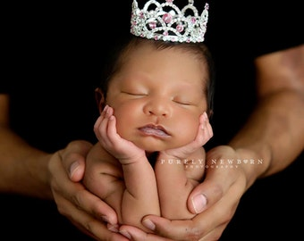 crown, Newborn Crown, Photo Prop, baby crown, photography prop, crystal crown - Pink Accent Abigail