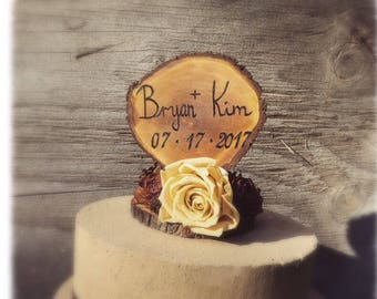 Customized Wedding Cake Topper - Unique Wedding Cake Topper - Rustic Wedding Cake Topper